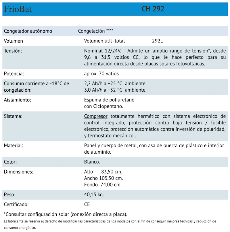 ficha tecnica friobat CH292
